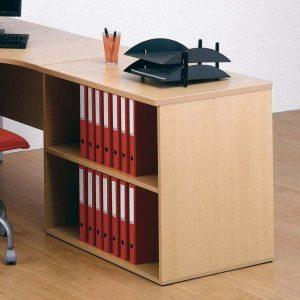Desk Height Cupboard, Shallow open front unit with 1 shelf, W800-733