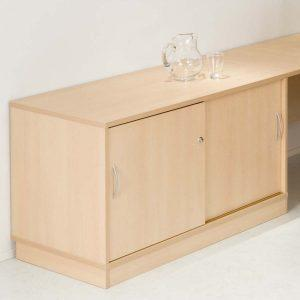 Desk Height Cupboard, Lockable sliding doors (Internal shelf), W1200-616