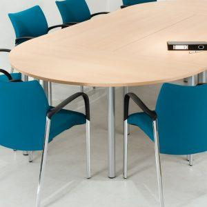Half Round Fixed Pole Leg Meeting Table - W1600-605