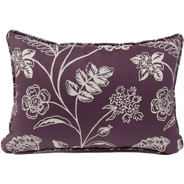 Care Home Soft Furnishings - Piped Cushion In Purple Fabric